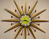 27 inch Hand Made Mid Century style Starburst Clock by Royale - Welby style Blonde Teak Rays Red Balls Lime Green Piano Key Dial