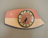 Handmade Retro Formica Wall Clock in First Lady Pink from Royale - Midcentury French Atomic style with Starburst Design
