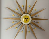 27 inch Hand Made Mid Century style Starburst Clock by Royale - Hand Waxed Blonde Teak Rays with 1950s style Bumble Bee Yellow Dial