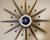 27 inch Hand Made Mid Century style Starburst Clock by Royale Medium Teak Rays 1950 39 s Dial in Navy White with Navy Balls