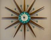 27 inch Hand Made Mid Century style Starburst Sunburst Clock by Royale - Medium Teak Rays Turquoise 1950 39 s Dial Balls