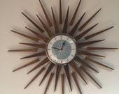 Large 27 inch Hand Made Mid Century style Starburst Sunburst Clock by Royale Seth Thomas style in Dove Grey