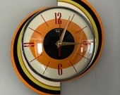 Colour Etched Spinning Meteor Formica Caravan Wall Clock from Royale - Midcentury Atomic 1970 39 s Retro style.