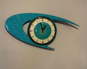 Colour Etched Lucite Formica Wall Clock from Royale - Midcentury Atomic Boomerang Retro style in Turquoise