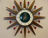 Small 18 inch Hand Made Mid Century style Starburst Clock by Royale - Hand Waxed Medium Teak Rays Teal Dial Red Balls