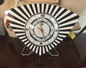 Handmade Lucite Formica Trianguloid Jetson style Mantle Clock from Royale - Midcentury Modern Hand made today