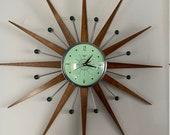27 inch Hand Made Mid Century style Starburst Sunburst Clock by Royale - Jade Green 1950s Face Medium Teak Wood Rays
