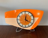 Handmade colour etched Lucite Formica Mantle Clock in Bright Orange from Royale - Midcentury French Atomic Retro style