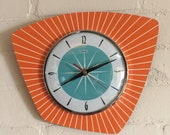 Handmade Asymmetric Formica Wall Clock in Tangerine with Turquoise Face from Royale - Midcentury French Atomic Retro style