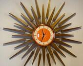 Large 27 inch Hand Made Mid Century style Starburst Sunburst Clock by Royale Seth Thomas style in 1950 39 s Tangerine