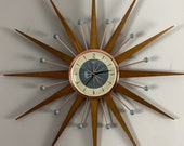 27 quot Hand Made Mid Century style Starburst Clock by Royale - Welby style Medium Teak Rays with Dove Grey Cream Dial