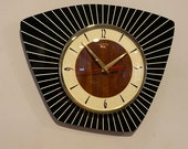 Handmade Asymmetric Formica Wall Clock in Black, Cream Faux Walnut from Royale - Midcentury French Atomic Retro style