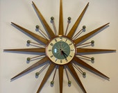 27 inch Hand Made Mid Century style Starburst Clock by Royale - Welby style Medium Teak Rays with Sage Green Dial
