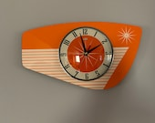 Handmade Tengerine Orange Formica Wall Clock from Royale - Midcentury French Atomic Retro style with Starburst Formica Design