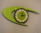 Colour Etched Lucite Formica Wall Clock from Royale - Midcentury Atomic Boomerang Retro style in Smeg Chartreuse Apple Green
