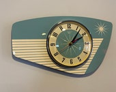 Handmade Light Green Formica Wall Clock from Royale - Midcentury French Atomic Retro style with Starburst Formica Design