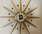 27 inch Hand Made Mid Century style Starburst Clock by Royale - Welby style Blonde Teak Rays Navy Blue Piano Key Dial