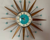 21 inch Hand Made Mid Century style Starburst Sunburst Clock by Royale - Welby style Medium Teak Rays with Turquoise Dial