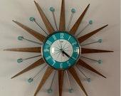 20 inch Hand Made Mid Century style Starburst Sunburst Clock by Royale - Medium Teak Rays Turquoise 1950 39 s Dial Balls