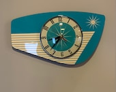 Handmade Formica Wall Clock in Turquoise from Royale - Midcentury French Atomic Retro style with Starburst Formica Design