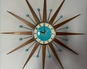 27 inch Hand Made Mid Century style Starburst Sunburst Clock by Royale - Welby style Medium Teak Rays with Turquoise Dial