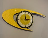 Colour Etched Lucite Formica Wall Clock from Royale - Midcentury Atomic Boomerang Retro style in Smeg Yellow