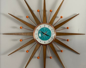 27 inch Hand Made Mid Century style Starburst Sunburst Clock by Royale - Welby style Medium Teak Rays & with Turquoise Dial