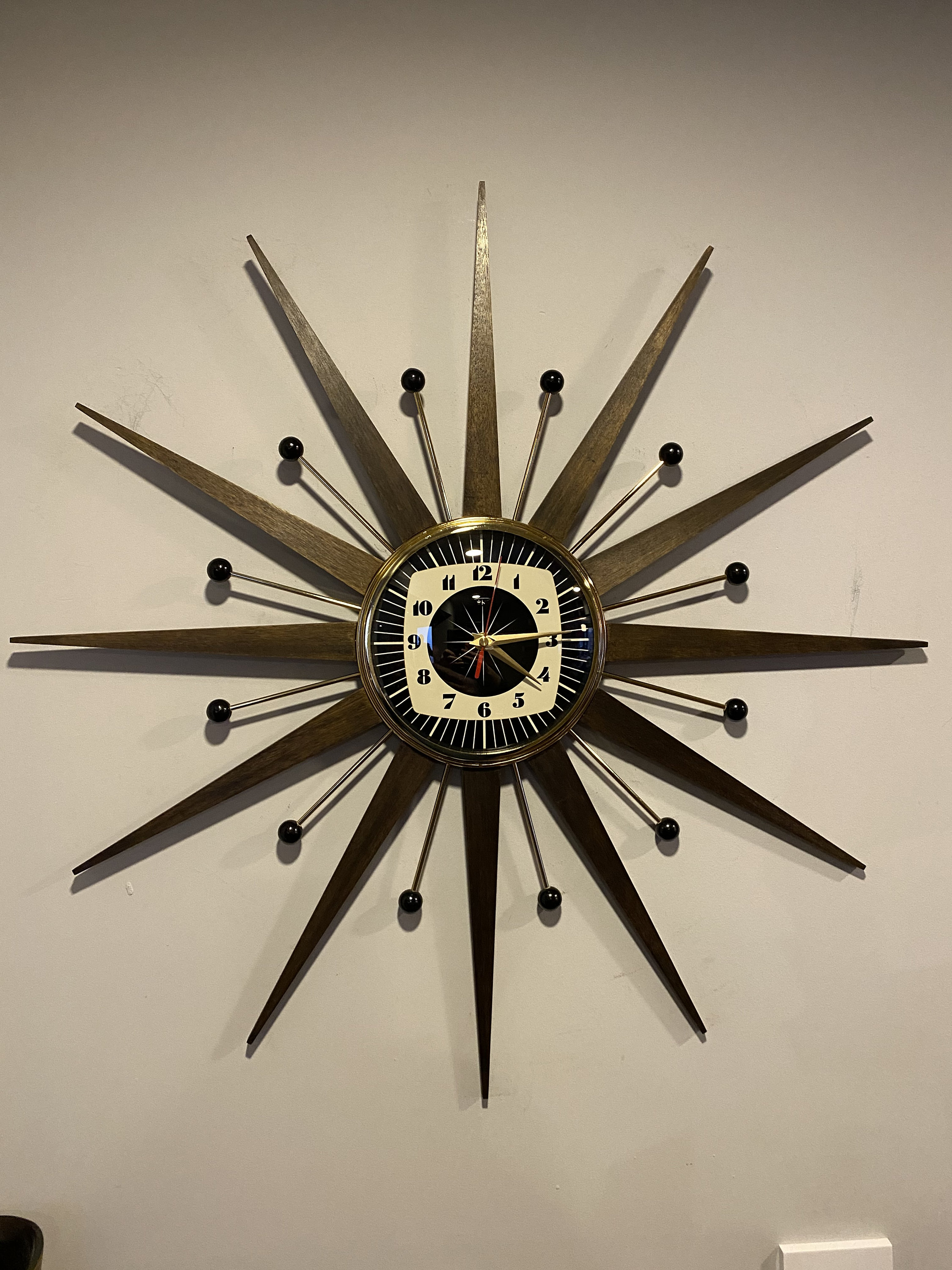 27 inch Hand Made Mid Century style Starburst Sunburst Clock by Royale Welby style Medium Teak Rays /& with 1950s style Teal Dial