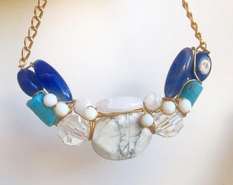 White Marble and turqouise statement necklace