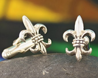 NOLA Fleur de Lis cufflinks Sterling Silver 925 oxidized Louisiana Handmade New Orleans groom best men/'s gift for him father/'s day