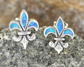 Blue Opal Inlay Small Dainty Fleur De Lis Dangle Earrings Sterling Silver 925 Hand Made In New Orleans Louisiana French Royalty Symbol