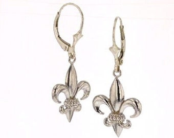 Fleur De Lis, Dangle, Earrings, Sterling Silver, Made In, New Orleans, Louisiana, French Symbol, Royalty, Tarnish-Free,