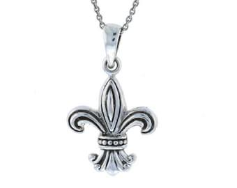 Fleur de Lily Fleur de Lis New Orleans Louisiana French Symbol Royalty Charm Pendant Sterling Silver .925