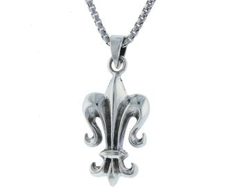 Large Double Sided Fleur de Lis New Orleans Louisiana French Symbol Royalty Charm Pendant Sterling Silver .925