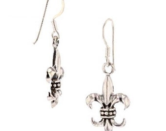 Fleur De Lis, Earrings, light weight, Belted, Sterling Silver, Made In, New Orleans, Louisiana, French Symbol, Royalty,