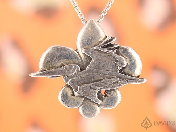 Pelican Flying Over A Fleur De Lis New Orleans Louisiana Gulf Oil Spill Bp French Symbol Art Charm Pendant Sterling Silver 925