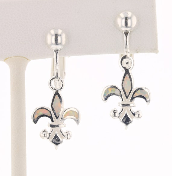 Large Dangle Fleur De Lis Earrings Sterling Silver 925 Hand Made In New Orleans Louisiana French Royalty Symbol Tarnish-Free