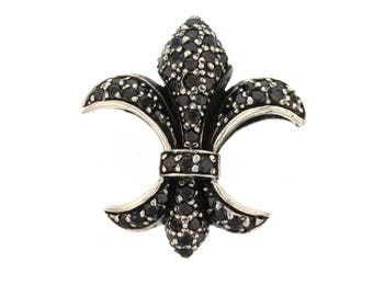 Fleur Slider Double Sided Fleur de Lis New Orleans Louisiana French Symbol Royalty Charm Pendant Sterling Silver .925