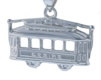 Desire, Streetcar, double sided, pendant, New Orleans, Tennessee Williams, Sterling Silver, 925, Theater gifts, NOLA Gifts