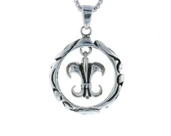 Float de Lis Fleur de Lis New Orleans Louisiana French Symbol Royalty Charm Pendant Sterling Silver .925