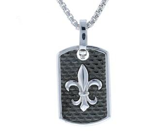 Dog Tag Fleur De Lis New Orleans French Symbol Royalty Charm Pendant Sterling Silver .925