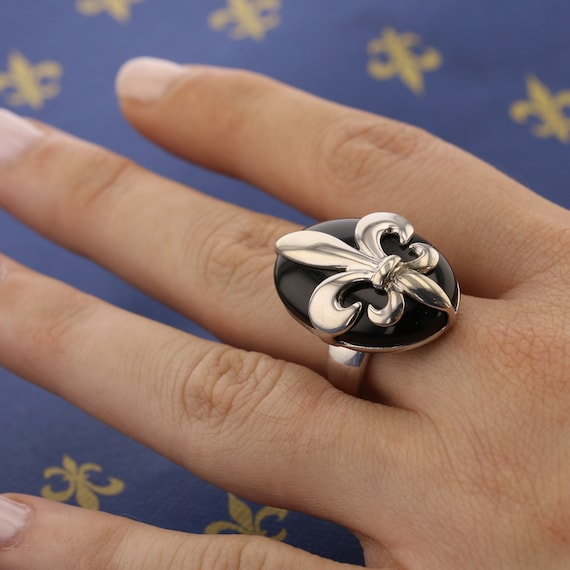 Fleur de Lis Over black Onyx Ring Sterling Silver 925 Handmade Jewelry New Orleans Size 6,7,8,9,10,11,12,13 best gift for him