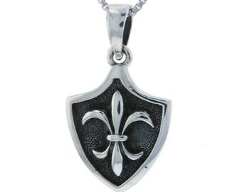 Shield Fleur de Lis New Orleans Louisiana French Symbol Royalty Charm Pendant Sterling Silver .925