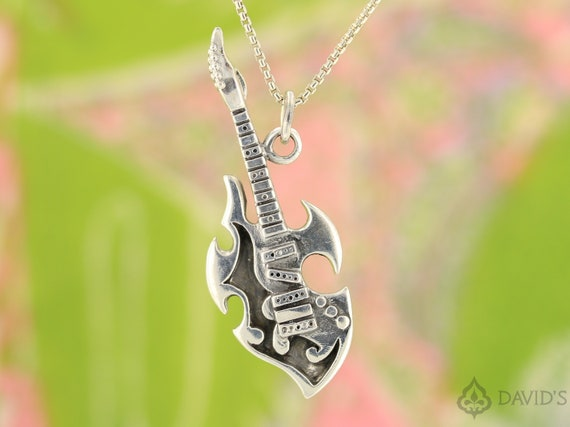 .925 Sterling Silver Guitar Necklace Outshine Designs Guitar Necklace Sterling Silver Guitar Pendant