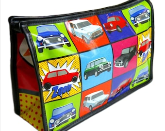 Mini cooper inspired British classic car toiletry bag