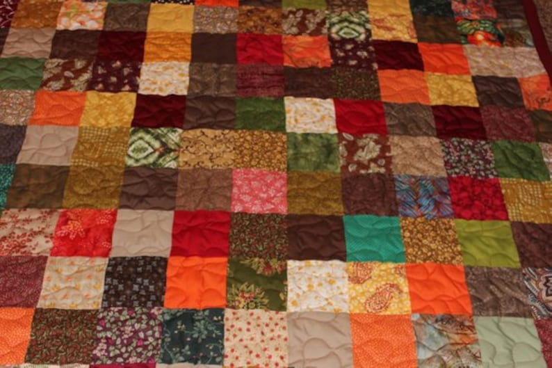 Earthtones King Size Quilt King Quilt Fall Quilts Patchwork Quilt King Size Quilt Custom Made Quilt Warm Earthtones Quilt