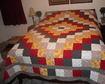 King Quilt - Custom Made Quilt - King Size Quilt - Trip Around the World Quilt - Supply Your Own Fabrics
