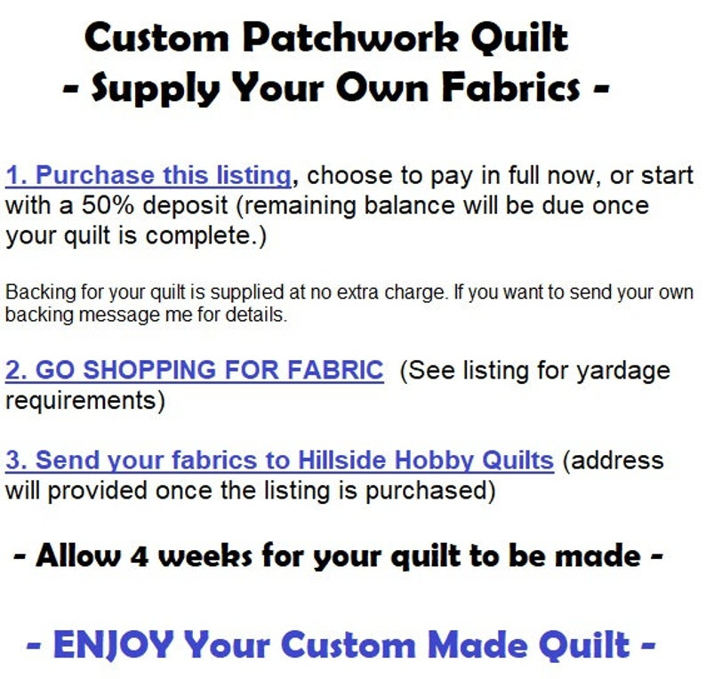 Custom Made Quilt California King Size Quilt Patchwork Quilt Supply Your Own Fabrics