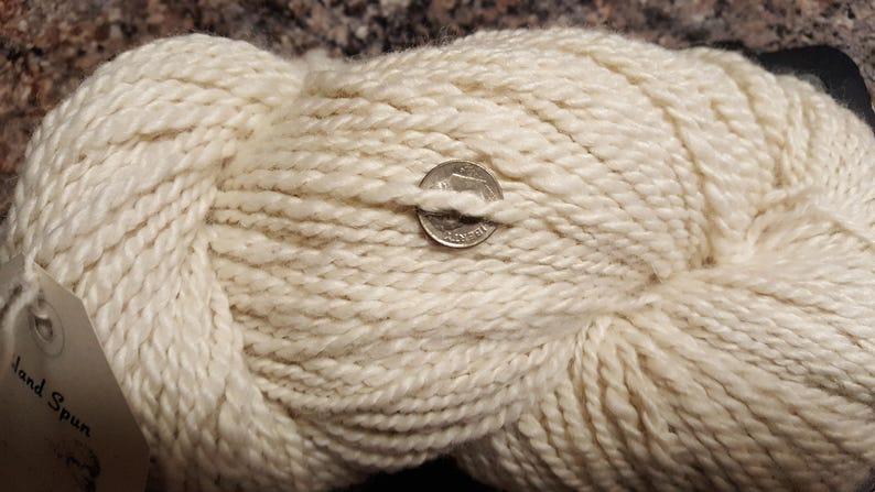 huacaya,white Knight/'s Handspun Yarn,100/% alpaca