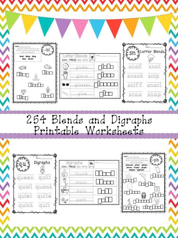 254 Blends And Digraphs Worksheets Download 1st 3rd Grade Etsy